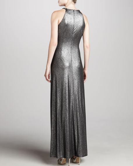 Metallic Halter Gown