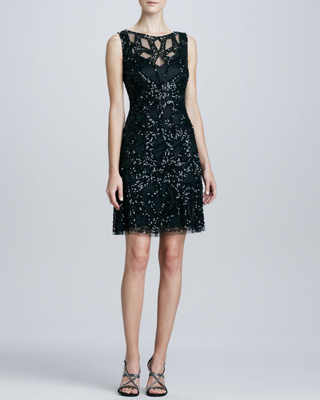 Sequined Cutout Cocktail Dress