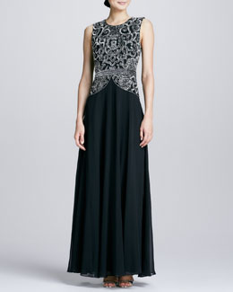 Aidan Mattox Beaded Bodice Georgette Gown