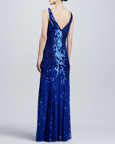 V-Neck Sequined/Beaded Gown, Cobalt