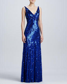 Aidan Mattox V-Neck Sequined/Beaded Gown, Cobalt