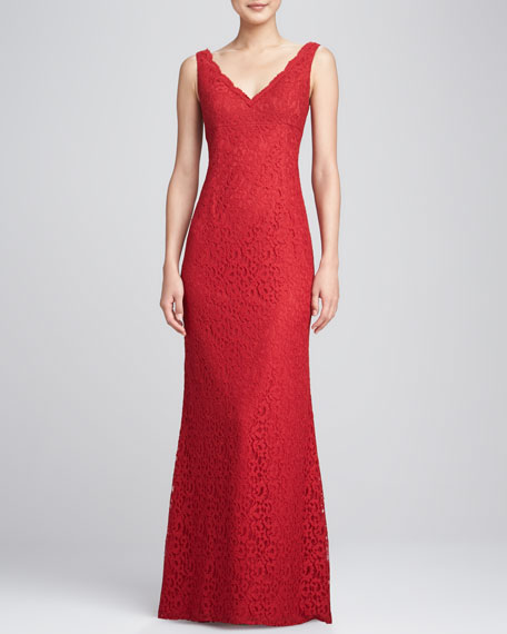 Sleeveless Lace Overlay Gown