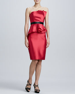 Carmen Marc Valvo Strapless Beaded-Waist Cocktail Dress
