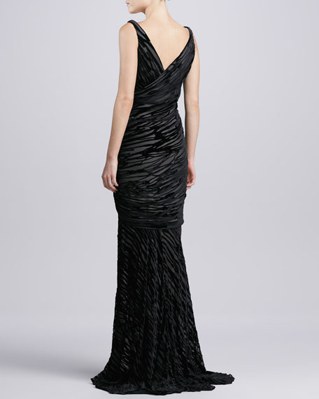 Sleeveless Burnout Gown, Black