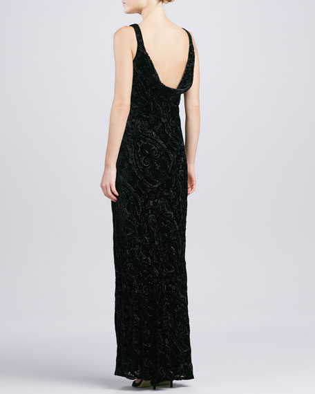 Cowl-Neck Velvet Gown