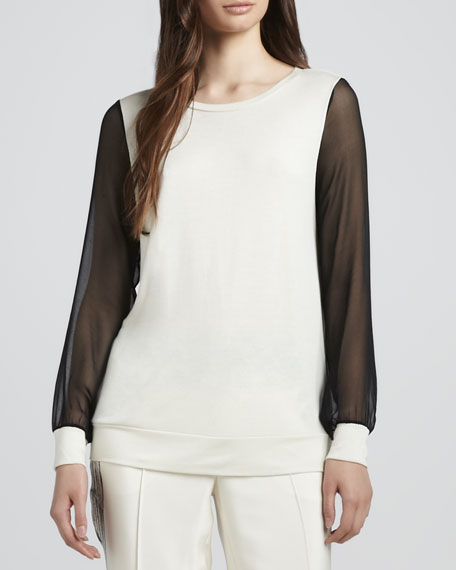 Sheer-Sleeve Sweatshirt