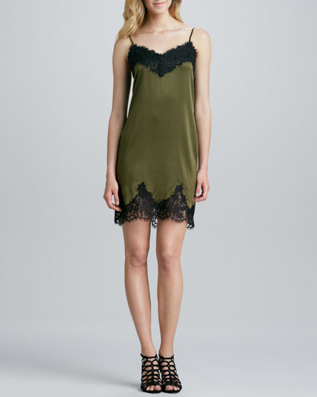 Lace-Trim Slip Dress