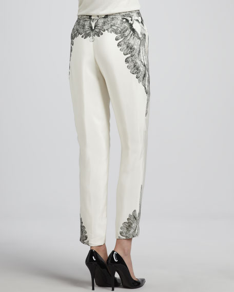 Printed Slim Slouchy Drawstring Pants