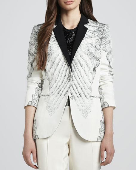 Printed Silk Tuxedo Jacket