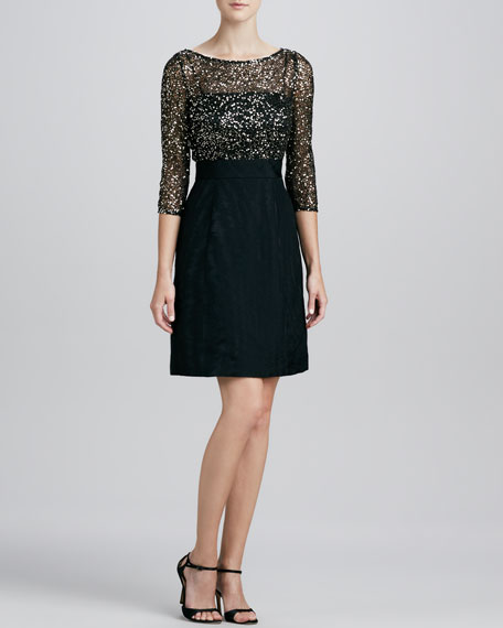 Sequined Lace-Bodice Cocktail Dress