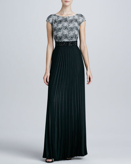 Lace-Bodice Pleated Gown