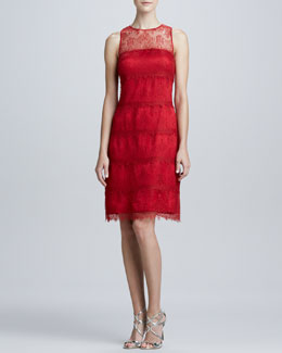 Kay Unger New York Illusion Lace Cocktail Dress
