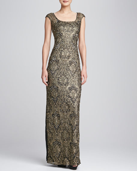 Cap-Sleeve Sequined Beaded Gown