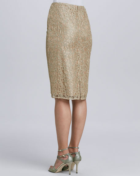 Metallic Lace Straight Skirt