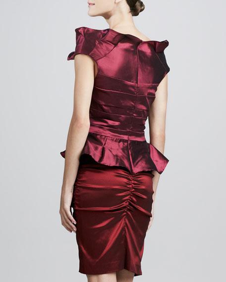 Ruffled-Bodice Cocktail Dress