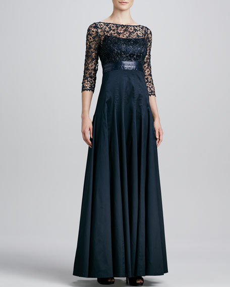 Lace/Sequin-Bodice Gown
