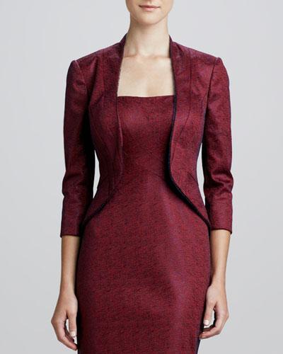 Kay Unger New York Jacquard Three-Quarter Sleeve Jacket