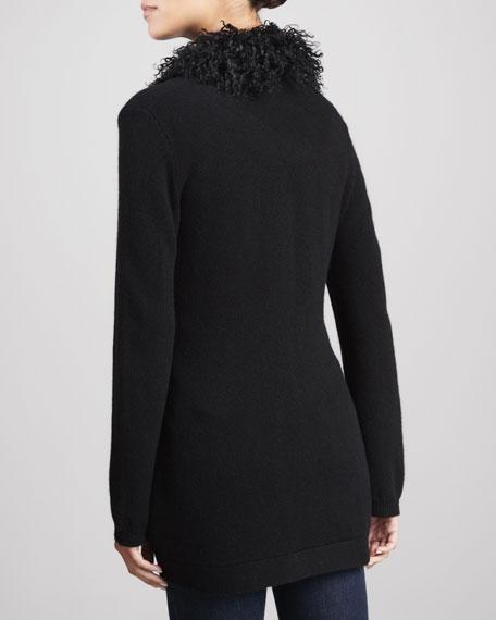 Mongolian Fur-Trim Cashmere Cardigan