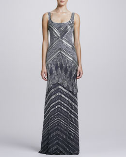 Theia Deco-Beaded Scoop-Neck Gown