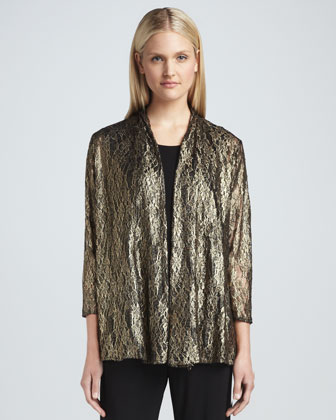 Metallic Lace Easy Cardigan, Women's