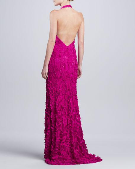 Halter V-Neck Petal Gown, Magenta
