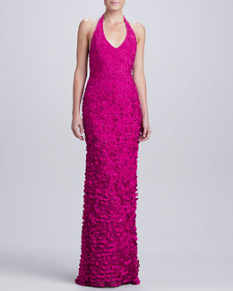Theia Halter V-Neck Petal Gown, Magenta