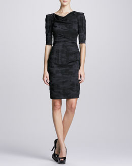 Theia 1/2-Sleeve Asymmetric-Neck Cocktail Dress