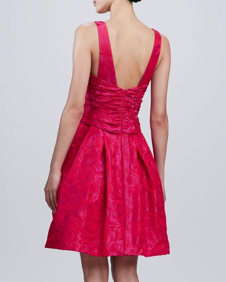 Sleeveless V-Neck Jacquard Party Dress