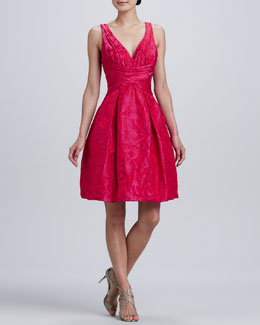 Theia Sleeveless V-Neck Jacquard Party Dress