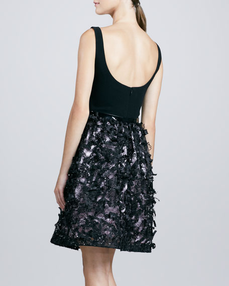 Sleeveless Belted Combo Cocktail Dress