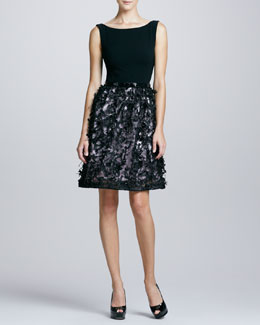 Theia Sleeveless Belted Combo Cocktail Dress