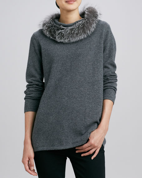 Fox Fur-Trim Cashmere Top