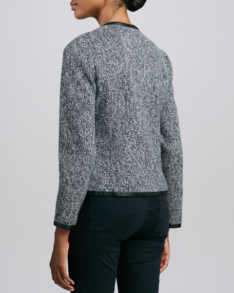 Tweed Cashmere Leather-Trim Jacket