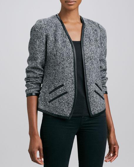 Tweed Cashmere Leather-Trim Jacket