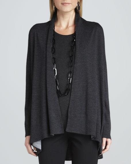 Merino Wool Cascading Cardigan, Charcoal/Moon