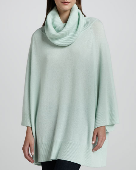 Crunched Cowl-Neck Cashmere Tunic