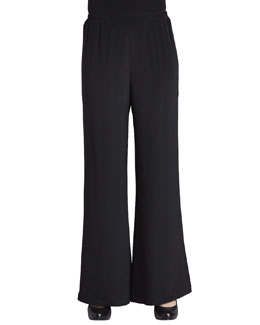 Caroline Rose Wide-Leg Silk Crepe Pants, Petite