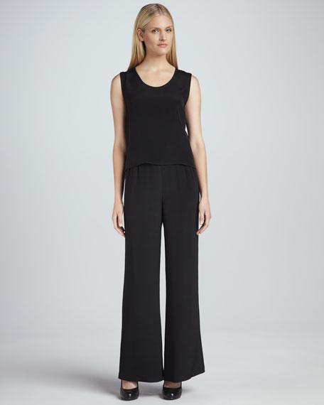Wide-Leg Silk Crepe Pants, Women's
