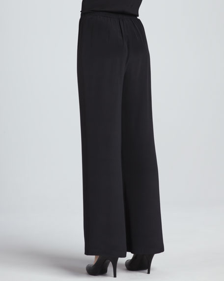 Wide-Leg Silk Crepe Pants, Women's