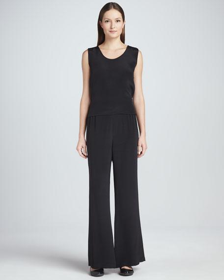 Silk Crepe Wide-Leg Pants, Women's