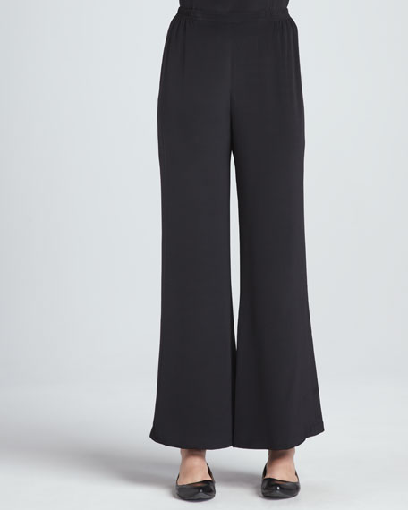 Caroline Rose Silk Crepe Wide-Leg Pants, Women's