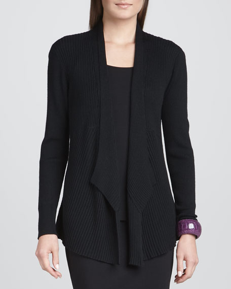 Mixed-Texture Merino Cardigan, Black