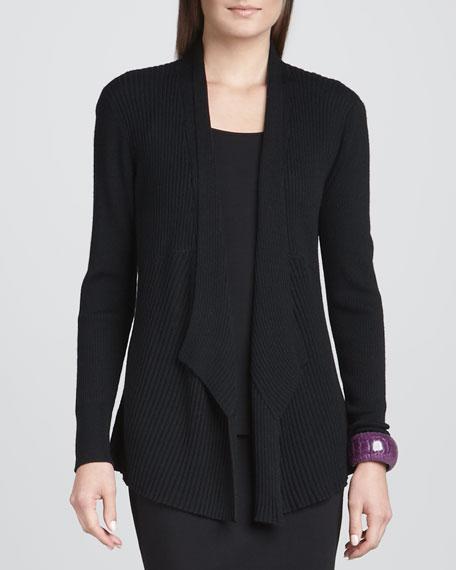Mixed-Texture Merino Cardigan, Black