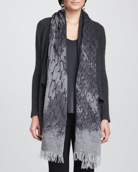 Mottled Linen-Wool Printed Scarf