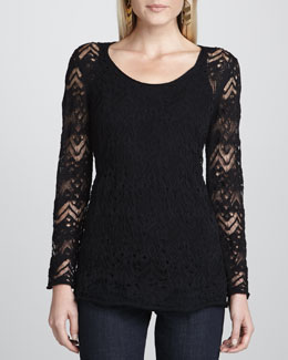 Eileen Fisher Washable Wavy Wool Lace Top