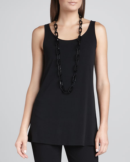 Silk Jersey Long Slim Camisole, Black