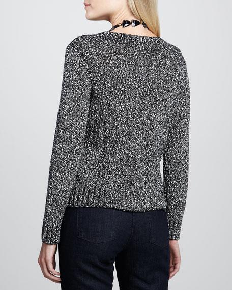 Nubble Soft V-Neck Boxy Sweater Top, Black Combo