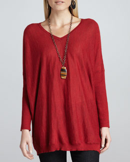 Eileen Fisher Royal Alpaca V-Neck Boxy Tunic
