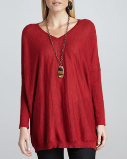 Eileen Fisher Royal Alpaca V-Neck Boxy Tunic, Petite