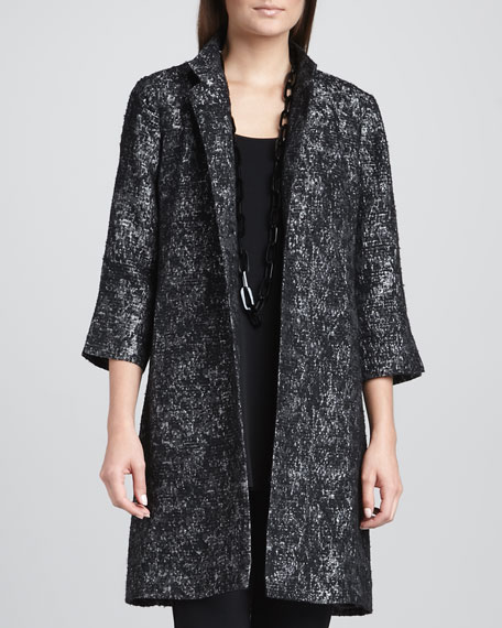Threaded Satin Jacquard Long Jacket
